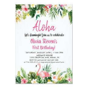 Tropical Aloha Flamingo Birthday Invitation