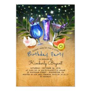 Tropical Beach Cocktail Birthday Party Invitation