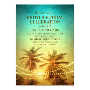 Tropical Beach Hawaiian Themed 100th Birthday Invitations