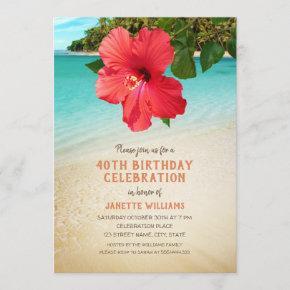 Tropical Beach Hawaiian Themed 40th Birthday Party Invitation