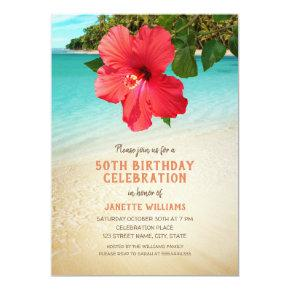 Tropical Beach Hawaiian Themed 50th Birthday Party Card