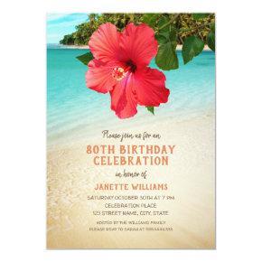Tropical Beach Hawaiian Themed 80th Birthday Party Invitation