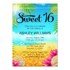 Tropical Beach Pink Hibiscus Sweet 16 Birthday Invitations