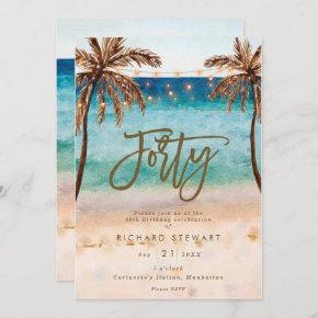 tropical beach summer 40th birthday party invitation