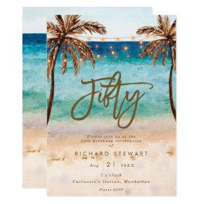 tropical beach summer 50th birthday party invitation
