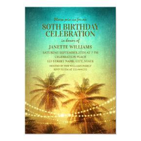 Tropical Beach Themed 80th Birthday Party Hawaiian Invitation