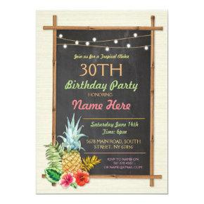 Tropical Birthday Party Luau Aloha Tiki Invitations