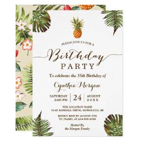 Tropical Birthday Party - Summer Pineapple Leaves Invitations