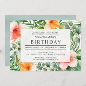 Tropical Birthday Pool Party and Luau Invitation
