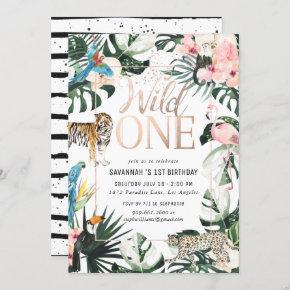 Tropical Chic | Pink Wild One Birthday Party Invitation