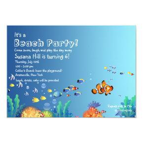 Tropical Fish Beach Birthday Party Invitations