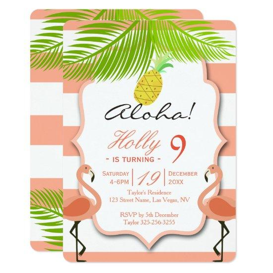 Tropical Flamingo Birthday Invitation – Candied Clouds