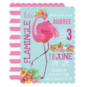 Tropical Flamingo Birthday Party Invitations Summer