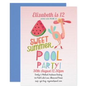 Tropical Flamingo POOL PARTY Pink WaterMelon Girls Invitation