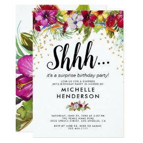 Tropical Floral Adult Surprise Birthday Party Invitation
