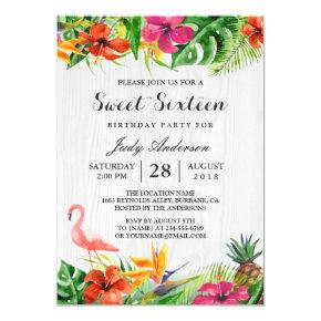 Tropical Floral Flamingo Luau | Sweet 16 Birthday Invitations