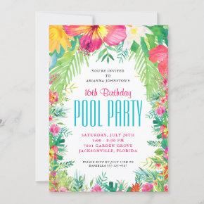 Tropical Floral Swimming Pool Party Birthday Invitation