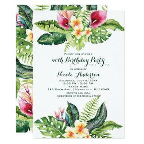Tropical Flowers & Leaves Floral Birthday Party Invitation