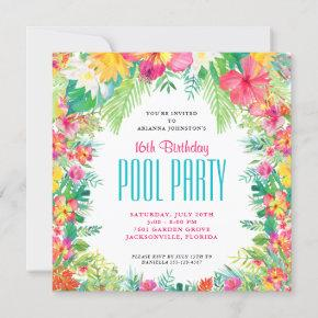 Tropical Flowers Swimming Pool Party Birthday Invitation