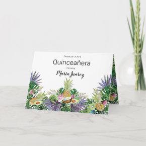 Tropical Fruit Greenery Summer Quinceañera Invitation