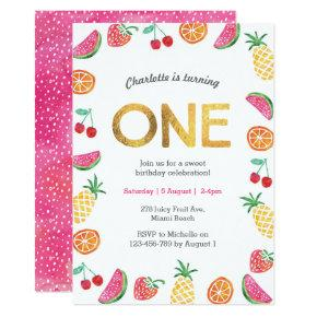 Tropical fruity Pink Gold Birthday Invitation