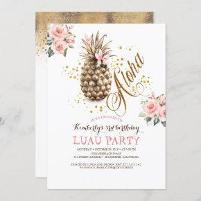 Tropical Gold Pineapple Pink Floral Luau Birthday Invitation