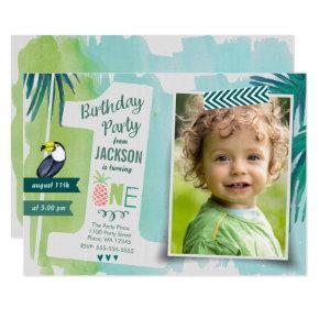Tropical Green & blue Jungle Watercolour Boy Invitation