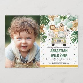 Tropical Greenery Safari Animals Wild One Birthday Invitation