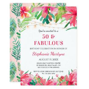 Tropical Hawaiian Floral 50th Birthday Invitation
