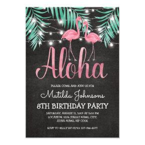Tropical Hawaiian Luau Beach Birthday Party Invitations