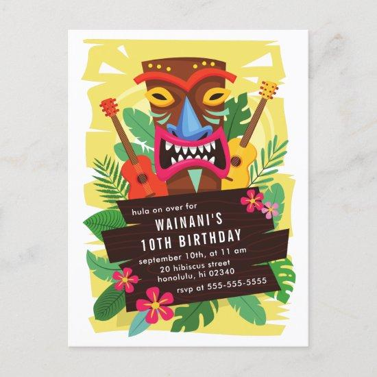 Tropical Hawaiian Ukulele & Tiki Luau Birthday Invitation Post