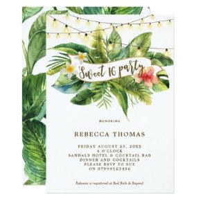 Tropical jungle sweet 16 party invitation
