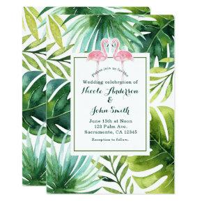 Tropical Leaves & Flamingos Wedding Invitations