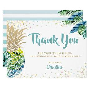 Tropical Luau Pineapple Baby Shower Thank you Invitation