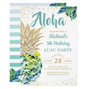 Tropical Luau Pineapple Beach Birthday Invitation
