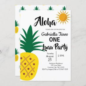 Tropical Luau Pineapple First Birthday Party Invitation