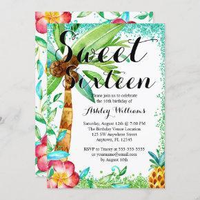 Tropical Luau Watercolor Faux Glitter Sweet 16 Invitation