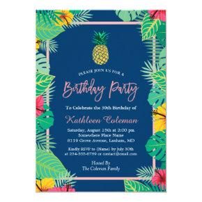 Tropical Navy Blue Gold Pineapple Birthday Party Invitation