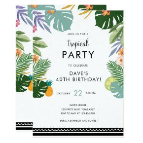 Tropical Palm Party Luau Adult Hawaiian Birthday Invitation