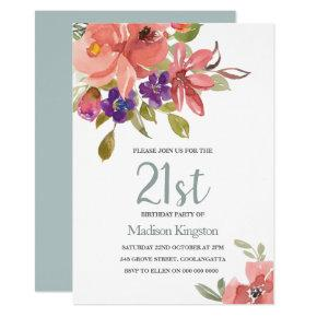 Tropical Peach Flowers 21st Birthday Party Invite