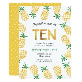Tropical pineapple 10th Birthday Invitation