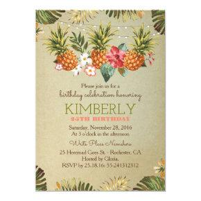 tropical pineapple beach lights birthday party invitation