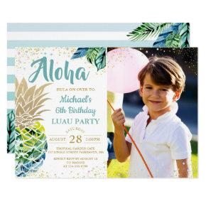 Tropical Pineapple Beach Luau Birthday Photo Invitation