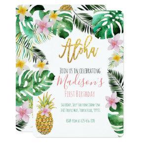 Tropical Pineapple Birthday Invitations
