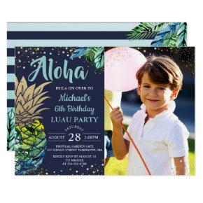 Tropical Pineapple Navy Blue Luau Birthday Photo Invitation