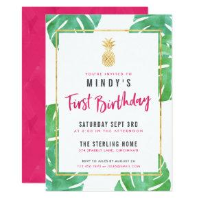Tropical Pink & Gold 1st Birthday Party Invitation