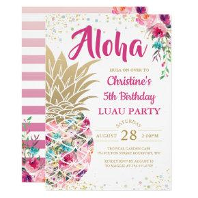 Tropical Pink Gold Pineapple Floral Luau Birthday Card