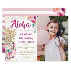 Tropical Pink Gold Pineapple Luau Birthday Photo Invitations