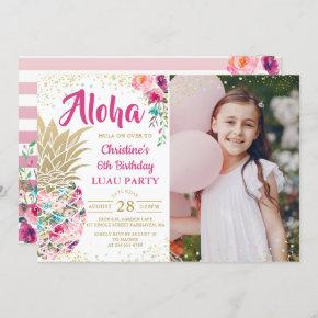Tropical Pink Gold Pineapple Luau Birthday Photo Invitation