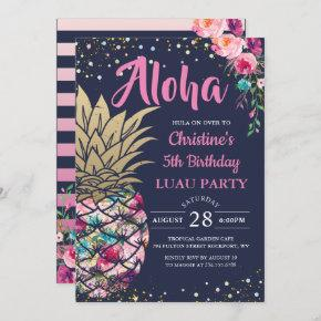 Tropical Pink Gold Pineapple Navy Blue Birthday Invitation